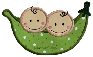 2 Peas in a Pod-Peas twins babies Sugar Beach Designs