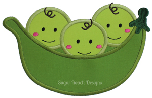 3 Peas in a Pod-Peas Triplets Baby Boy Girl Multiples SheSewChic