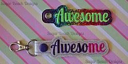 ITH Awesome Key Fob-ITH, In the hoop, key, snap, fob, grommet, rivet, awesome