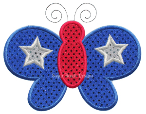 Butterfly Star-Butterfly Star Patriotic 4th of July Independence Embroidery Appliqu