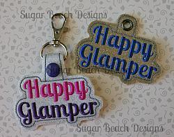 ITH Happy Glamper Key Fob-Camping, Glamping, RV, Motorhome, SBD, Sugar Beach Designs, Key, Snap, Fob, Grommet, Rivet