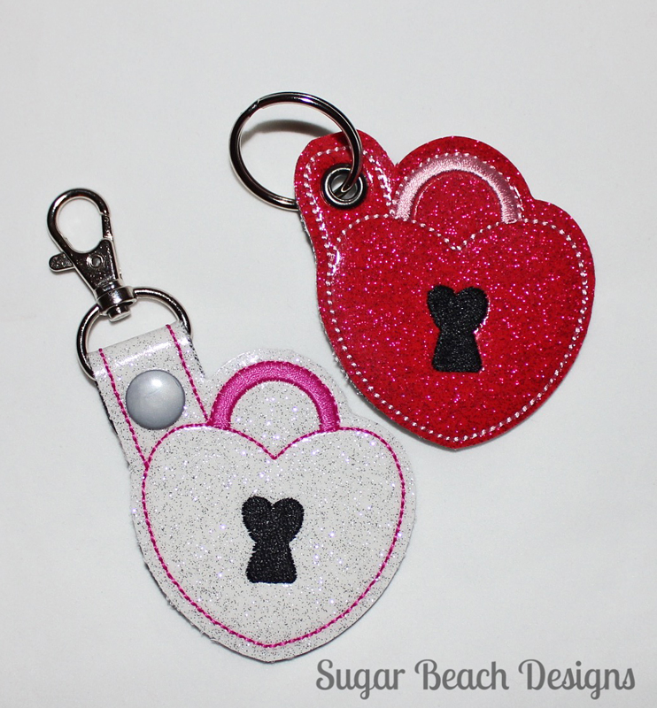 ITH Heart Lock Key Fob-ITH, In The Hoop, Key, Snap, Fob, SVG, Embroidery