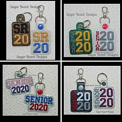 ITH Senior 2020 Key Fob Set-ITH, In the hoop, key, snap, fob, grommet, rivet, school, senior, 2020
