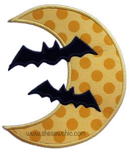 Moon with 2 Bats-Moon, Bats, Halloween