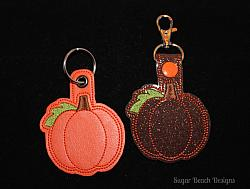 ITH Pumpkin3 Key Fob-Pumpkin, ITH, In the hoop, key fob, key chain, snap, grommet, halloween, fall, thanksgiving,