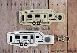 ITH Fifth Wheel Key Fob-ITH, Snap, Fob, Key, Chain, RV, Fifth, Wheel, Motorhome, Camper, In the hoop