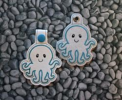ITH Octopus Key Fob-Octopus, ITH, In the hoop, key, fob, snap, svg