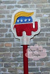 ITH Right Hair Pencil Topper-ITH, In the hoop, Trump, republican, elephant, right, hair, president, military