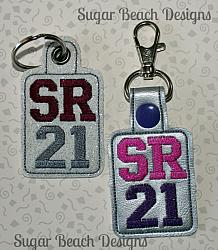 ITH SR21 Key Fob-ITH, In the hoop, svg, key, snap, fob, tab