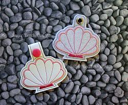 ITH Seashell Key Fob-Seashell, Key, Fob, ITH, Snap, Keychain, vinyl, embroidery, tab