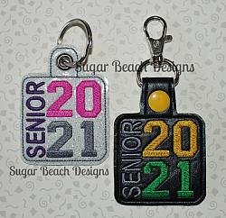 ITH Senior 2021 Side Key Fob-ITH, key, snap, fob, in the hoop, chain