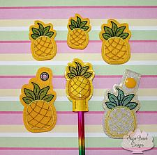ITH Pineapple Fobs Felties & Pencil Topper Set-pineapple, fob, pencil, feltie