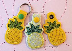 ITH Pineapple Key Fob-Pineapple, Key, Snap, Fob, Chain, ITH, In the hoop, food, fruit, snap, grommet, rivet