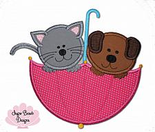 It's Raining Cats and Dogs Applique Design-Cat, Dog, Pet, Animal