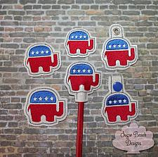 ITH Right Republican Elephant Fobs Felties & Pencil Topper Set-Right, Republican, Politics, Trump, Feltie, Pencil, Topper, Fob, Snap, Grommet