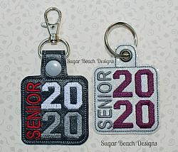 ITH Senior 2020 Side Key Fob-ITH, In the hoop, senior, 20, 2020, school, key, snap, fob