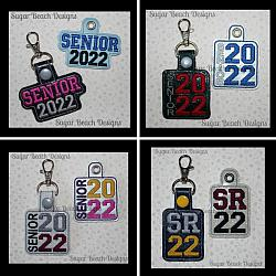 ITH Senior 2022 Key Fob Set-ITH, In the hoop, key, snap, fob, grommet, rivet, school, senior, 2022