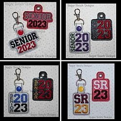 ITH Senior 2023 Key Fob Set-ITH, In the hoop, key, snap, fob, grommet, rivet, school, senior, 2023