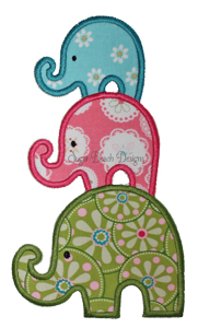 Stacked Elephants-Elephants Baby Big Middle Little Embroidery Applique Sugar Beach Designs