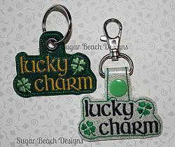 ITH Lucky Charm Key Fob-Key, snap, grommet, rivet, ITH, in the hoop, vinyl, svg, fob, chain